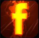 "Facebook logo link - flaming ""f"" on black background - with Hot Step Salsa dance classes"